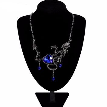 Crystal Heart Dragon Necklace