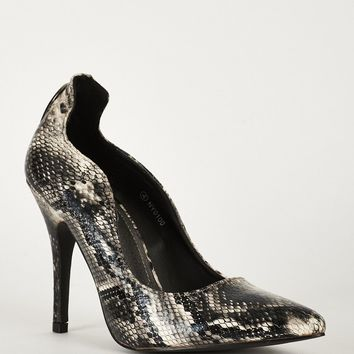 Faux Snake Skin Shoes With Cut Out Detail