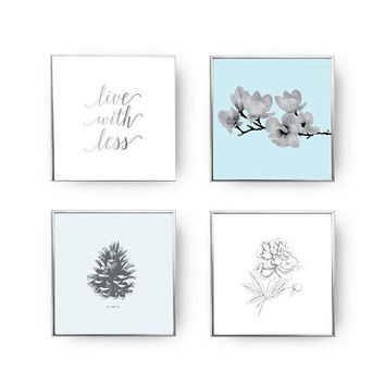 SET of 4 Prints, Live With Less, Magnolia Print, Home Decor, Gold Foil Print, Pine Cone Decor, Flowers Set, Peony Art, Floral Wall Decor