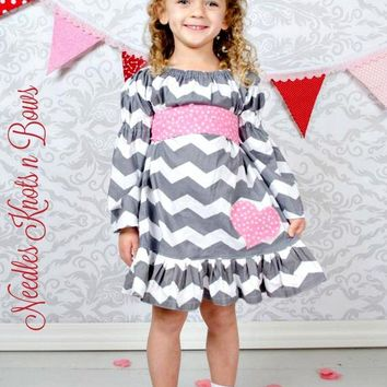 Girls Grey and Pink Valentines Day Peasant Dress, Valentines Party Dress, Chevron, Toddler, Baby