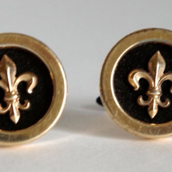Krementz Fleur De Lis Cufflinks, Pre-1955 Hallmark- Gold & Black Vintage Designer Toggle Cuff Links- Unisex Retro Glam Jewelry