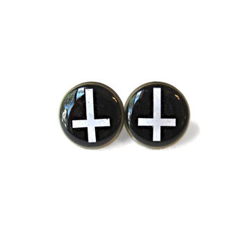 Black and White Inverted Cross Stud Earrings - Soft Grunge Pop Culture Jewelry - Pastel Goth Jewelry