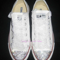 "Adult ""Bling"" converse in your choice of color & ribbon shoelace to match. Super cute for bridesmaids, brides, or just because"