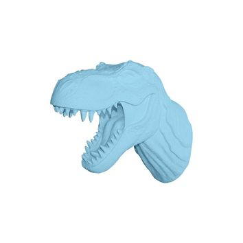 The Jurassic | Large T Rex Dinosaur Head | Faux Taxidermy | Pool Blue Resin