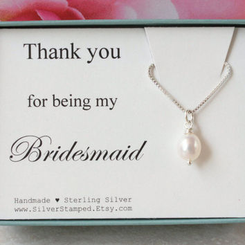 Bridesmaids' gift for bridesmaid thank you for being my bridesmaid gift box sterling silver necklace freshwater pearl wedding party gifts
