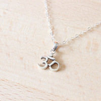 Ohm Necklace- Sterling Silver Ohm Necklace- Namaste Yoga Ohm Jewelry, Om Charm Necklace, Tiny Om Charm, Spiritual Yoga Jewelry,Yoga Necklace