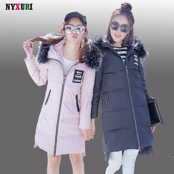 New Fashion Women Winter Warm Yanwei Down Jackets High Quality Long Hooded Over Zip Up Solid Coat Female veste hiver femme