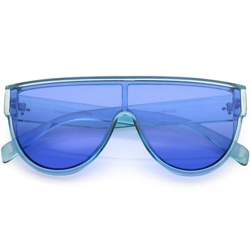 Oversize Flat Top Shield Aviator Sunglasses Colored Mono Lens 68mm