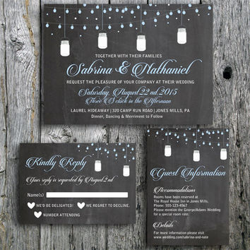 Chalkboard Wedding Invitation Suite with String Lights and Mason Jar - Invitation, RSVP and Guest Information Card