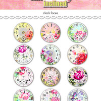 "Digital romantic Valentines Day clocks watch faces collage sheet  / 2"" diameter circles / downloadable / printable / shabby chic altered art"