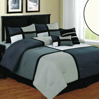 Deco Luxury Queen Comforter Set- Black/ Grey/ White
