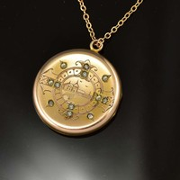 Rhinestone Paste Edwardian Gold Filled Locket C 1900