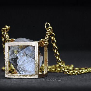 RAW DIAMOND NECKLACE - Floating Pendant, Distressed Shiny Gold Cube, Extra Long Brass Chain