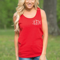 Red Ribbon Flags Printed Tank Top B0015256