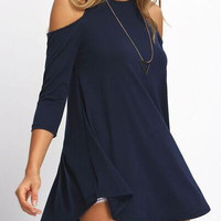 Cold Shoulder  3/4 Sleeve Shirt Dress  B0013662