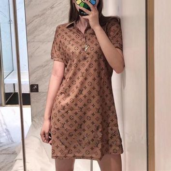 """LOUIS VUITTON"" Women Casual Retro Letter Print Lapel Short Sleeve Polo Shirt Dress"