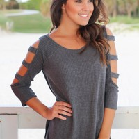 Charcoal Knit Top with Cut Out Sleeve Detail
