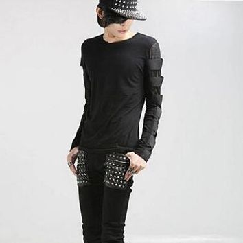 men's rock t shirt long sleeve cotton lycra black dark grey color slim fit gothic punk clothes