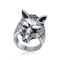 Fashion Men's Stainless Steel Silver Vintage Gothic Biker Wolf Head Ring Size 8 - 13