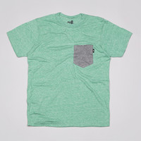 Flatspot - The Quiet Life Heather Contrast Pocket T Shirt Heather Green