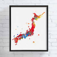 Japan Map, Japan Print, Japan Poster, Watercolor Map, Japan Wall Decor, Framed Art, Custom Color, Countries, Travel Art, Map Painting