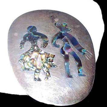 """Mexican Dancer Brooch Pendant Inlaid Abalone 925 Sterling Taxco Eagle 2 1/4"""" Vintage"""
