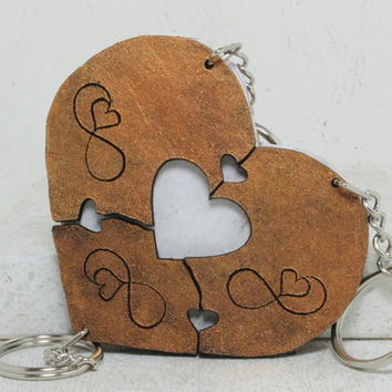 Heart Puzzle Key chain set of 3 Infinity Sign Best Friend Key Chains  Set 36
