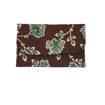 Blue Green Paisley Flower Vine on Brown Card Case Pocket Wallet