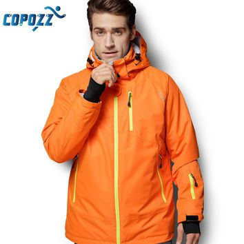 COPOZZ Snowboard Ski Jacket Men Winter Hooded Warm Parkas Waterproof Male Snow Jacket for Hiking Camping Skiing S-XXL Size