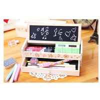 New Multifunctional Wooden School Pencil Box Pen Case High - grade gift box Vintage Stationery Holder With Chalk And Blackboard