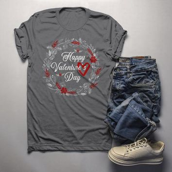 Men's Valentine's Day T Shirt Pretty Wreath Shirts Love Graphic Tee Flowers TShirt
