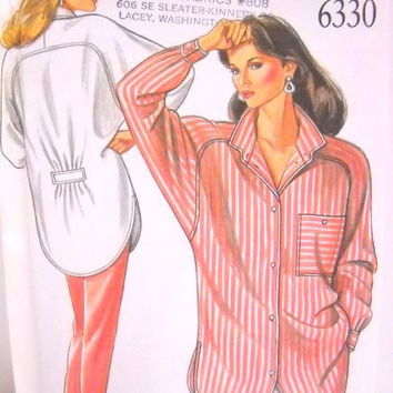 Womans Shirt Pattern, Un Cut, New Look 6330, Size 8 thru 18, Sewing Notions