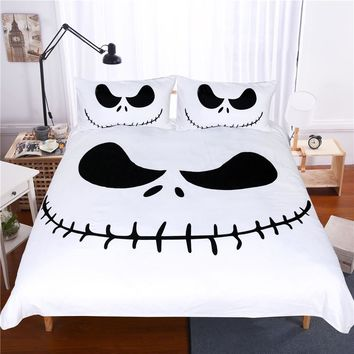 Lai Yin Sun Bedding Set Black and White  Nightmare Before Christmas Cool Printed Bed Linen Soft Duvet Cover with Pillow Case