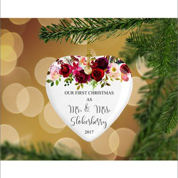 Personalized Floral Our First Christmas as Mr. & Mrs. Christmas Ornament- Wedding Ornament - Christmas Gift Ideas - HO0003