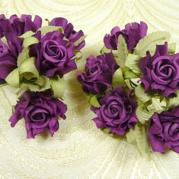 Paper Roses Handmade Flowers Bunch of 10 Plum Purple with Leaves for Crafts, Scrapbooking, Party Favors, Wedding Decorations