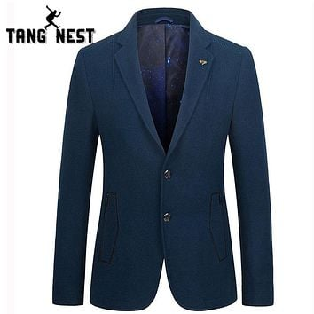 TANGNEST Spring Autumn Fashion Blazer Masculino Casual Slim Single Breasted Men Blazer Hot Sale Business blazer MWX379