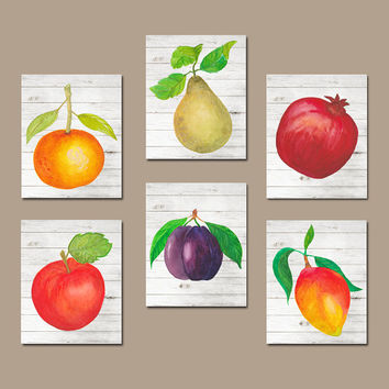 Watercolor Food Kitchen Wall Art Pictures Fruit Vegetables Artwork Home