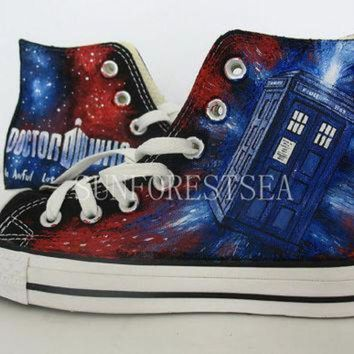 VONR3I DOCTOR WHO/CUSTOM/converse/ gift/hand painted /canvas shoes/