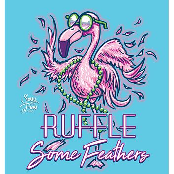 Sassy Frass Ruffle Some Feathers Flamingo Bright Girlie T Shirt