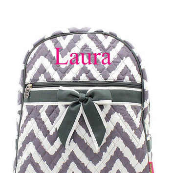 Grey Aztec Monogrammed Backpack Monogram Quilted Backpack  Personalized Backpack