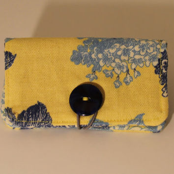 Business Gift Credit Card Holder Hand sewn Fabric Wallet Handmade Blue and Yellow Flowers Corduroy Floral Motif Clutch Purse Money Holder