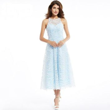 Scoop dress elegant blue sleeveless lace a line dresses back zipper up  formal evening prom gown
