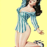 Pin Up Art Brunette Pinup Poster