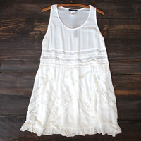 lace trim trapeze slip dress | white