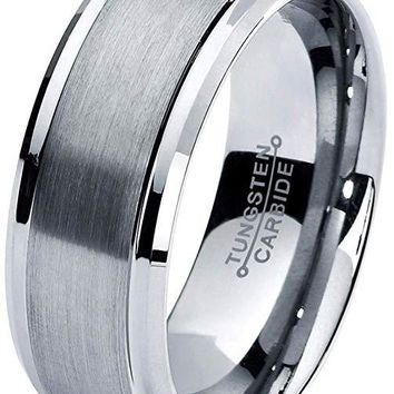 Adria Grey Tungsten Wedding Band Comfort Fit Bevel Edge and Brushed Polished - 8mm
