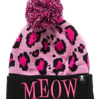 Pink Leopard Meow Knit Beanie by Sourpuss Clothing