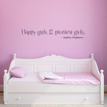 Happy girls are the prettiest girls Wall Decal - Audrey Hepburn Quote decal - Large