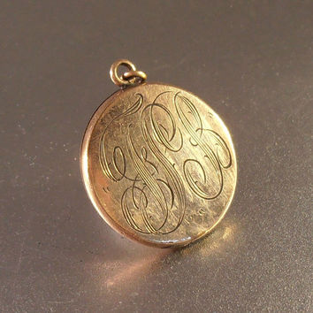 Victorian Locket, Rose Gold Filled Engraved Pendant, Antique Jewelry
