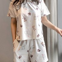 Rabbit Print Top & Shorts PJ Set