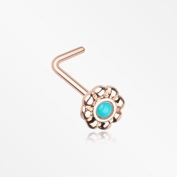 Rose Gold Bali Flower Turquoise L-Shaped Nose Ring